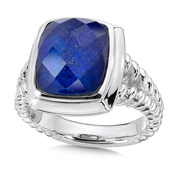 Sterling Silver Lapis and White Quartz Fusion Ring