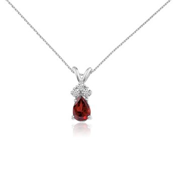 14k White Gold Garnet Pear Pendant with Diamonds