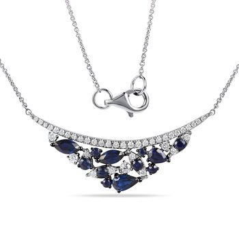 "14K Layered Necklace with 39 Diamonds T.W. 0.29C & 12 Blue Sapphires T.W. 1.23C, 18"" Chain"