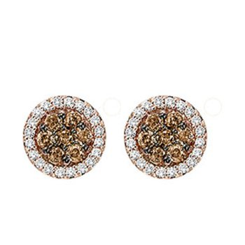 14K Brown & White Diamond Earrings 1/2 ctw