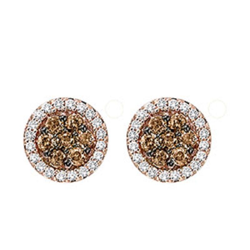 Gemsone 14K Brown & White Diamond Earrings 1/2 ctw