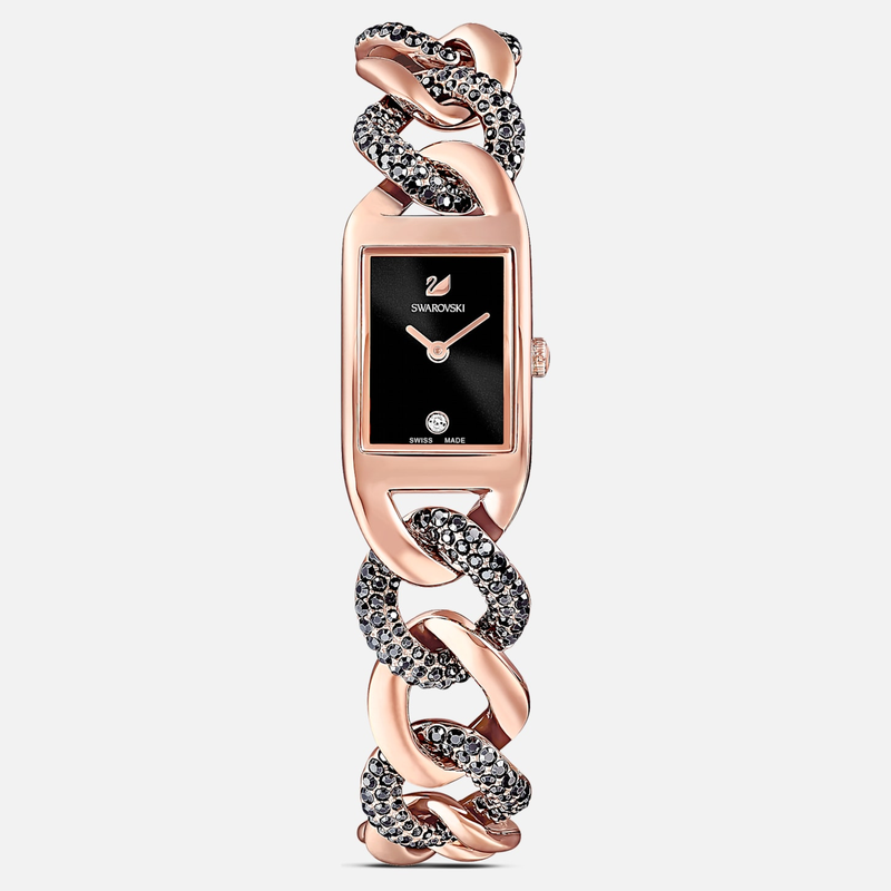 Swarovski Cocktail Watch, Metal bracelet, Black, Rose-gold tone PVD