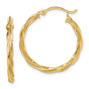 14K Polished Twisted 2.5mm Hoop Earrings