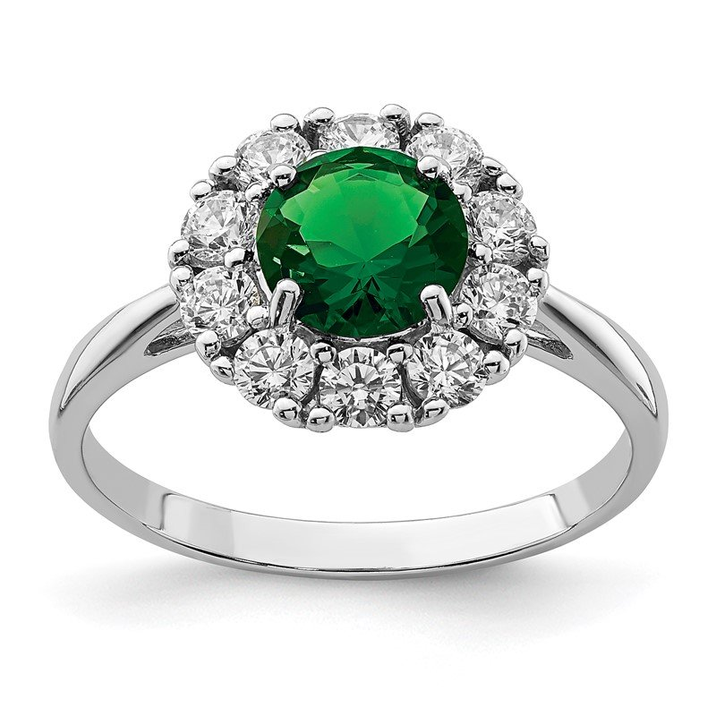 Quality Gold Sterling Silver Rhodium-plated Green Glass and CZ Halo Ring