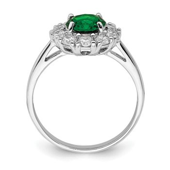 Sterling Silver Rhodium-plated Green Glass and CZ Halo Ring