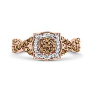 10K Rose Gold 7/8 Ct Brown and White Diamond Fashion Ring