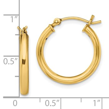Sterling Silver Gold-Tone Polished 2.5x20mm Hoop Earrings