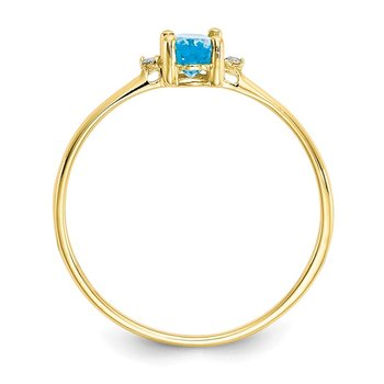 10k Polished Geniune Diamond & Blue Topaz Birthstone Ring