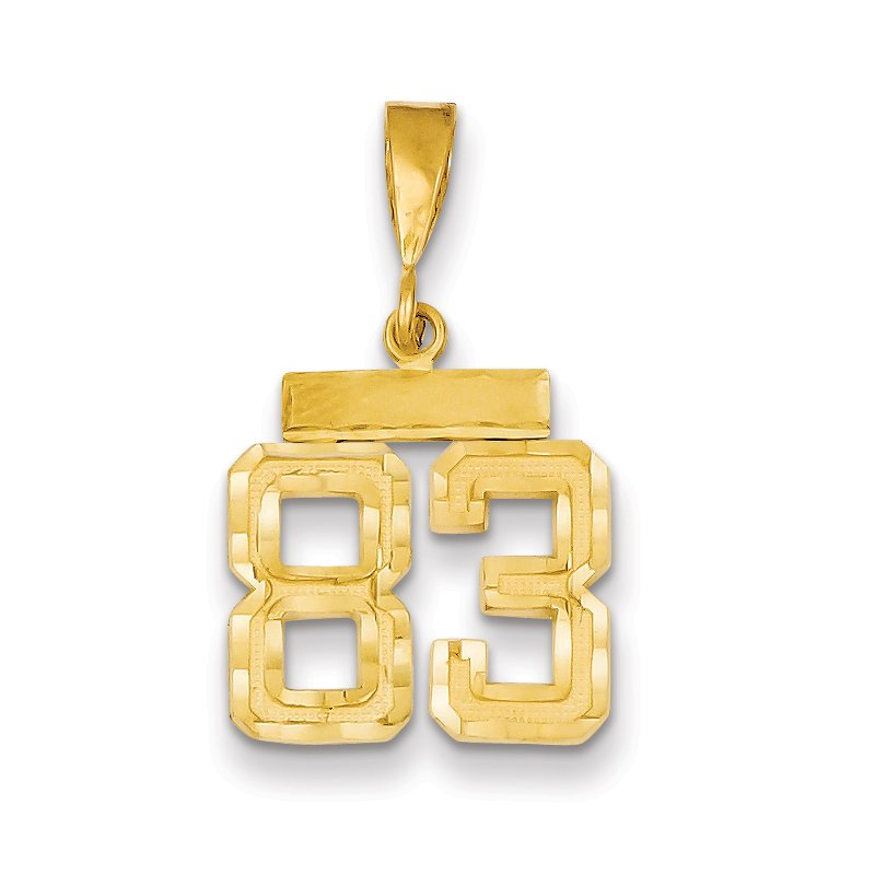 Quality Gold 14k Small Diamond-cut Number 83 Charm