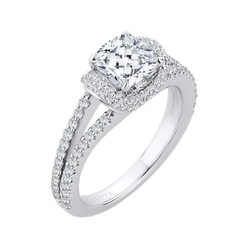 18K White Gold Cushion Cut Diamond Engagement Ring with Split Shank (Semi-Mount)