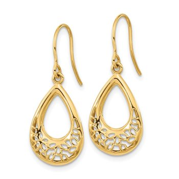 14k Polished Floral Teardrop Shepherd Hook Earrings