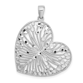 Sterling Silver Rhodium-plated Brushed/Polished D/C Heart Pendant