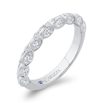 18K White Gold Bezel Set Double Row Diamond Wedding Band