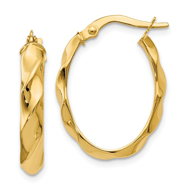 Leslie's Leslie's 14K Polished and Twisted Oval Hoop Earrings