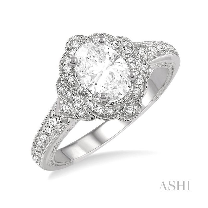 ASHI oval shape semi-mount diamond engagement ring