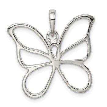Sterling Silver Polished Butterfly Pendant