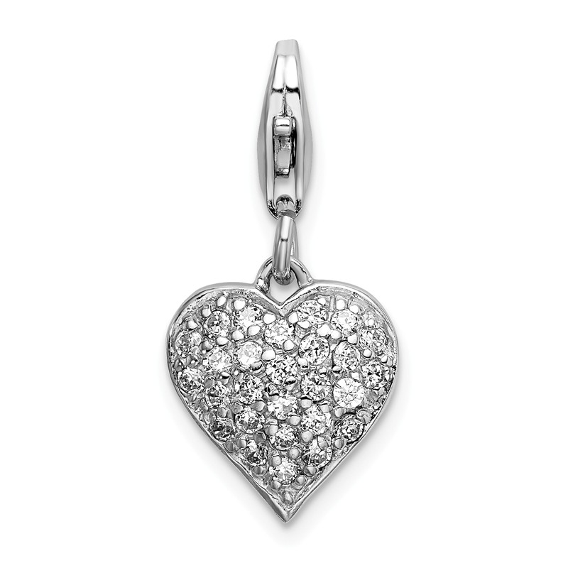 Sterling Silver Enameled CZ Awareness Ribbon /& Heart w// Lobster Clasp Charm Amore La Vita Collection