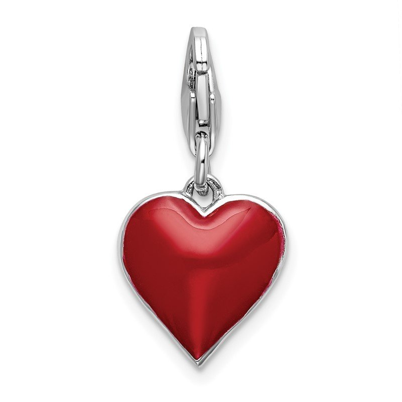 Quality Gold Sterling Silver RH 3-D CZ & Red Enamel Heart w/Lobster Clasp Charm