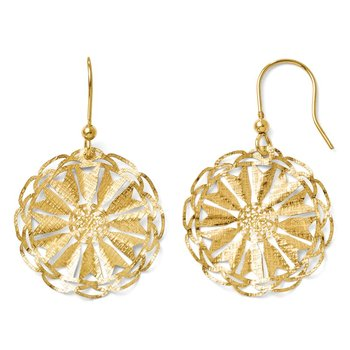 Leslie's Sterling Silver Gold-tone 14k Flash Plated D/C Earrings