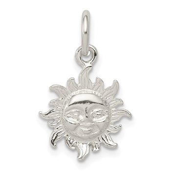 Sterling Silver Polished Face in Sun Pendant