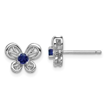Sterling Silver Rhodium-plated Created Sapphire Earrings