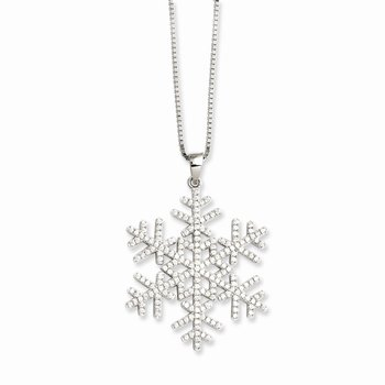 Sterling Silver Brilliant Embers Rhodium-plated CZ Snowflake Necklace