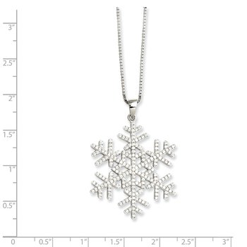 SS Rhodium-Plated CZ Brilliant Embers Snowflake Necklace