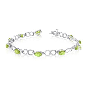 10K White Gold Oval Peridot and Diamond Bracelet