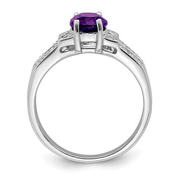 Sterling Silver Rhodium Amethyst Diamond Ring