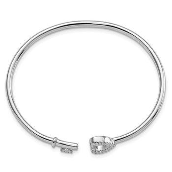 Sterling Silver Rhodium-plated CZ Heart and Key Flexible Bangle