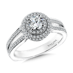 Valina Bridals Round double halo mounting  .43 ct. tw.,  5/8 ct. round center.