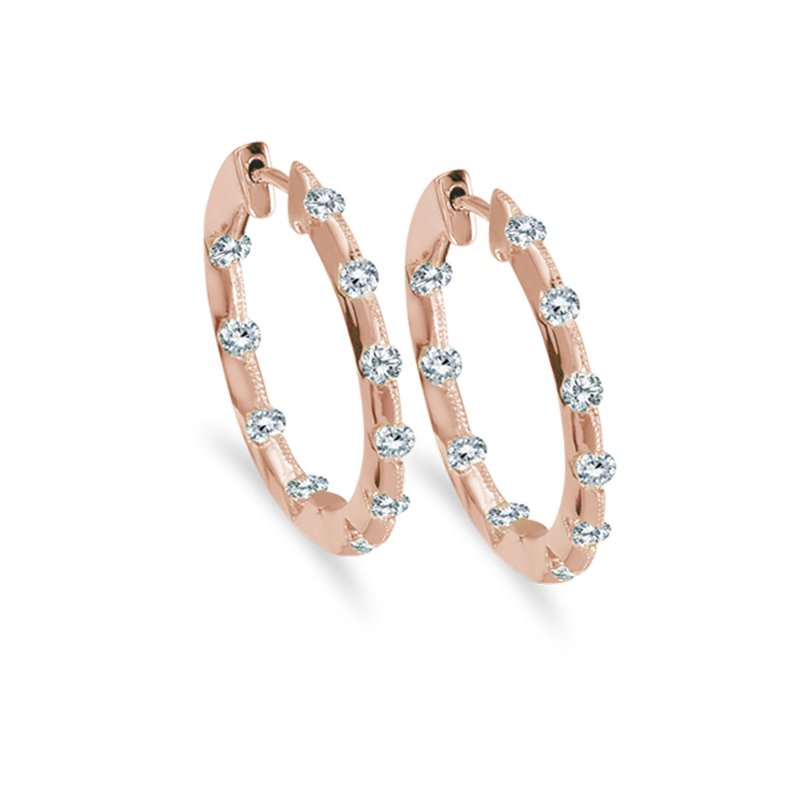 Color Merchants 14k Rose Gold .50 Ct Diamond Inside Outside Hoop Earrings