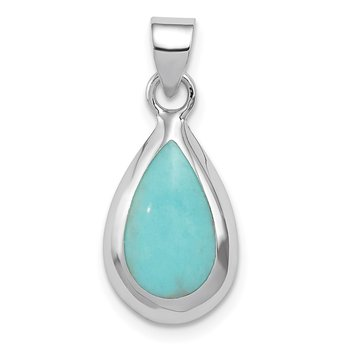 Sterling Silver Rhodium Polished Lab Created Turquoise Teardrop Pendant