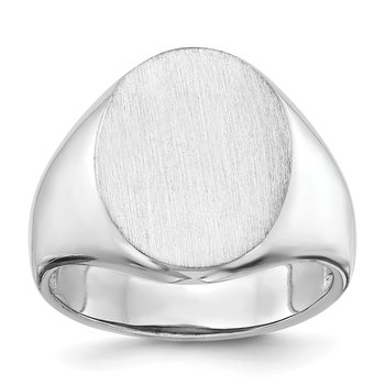 14k White Gold 18.0x14.5mm Open Back Men's Signet Ring