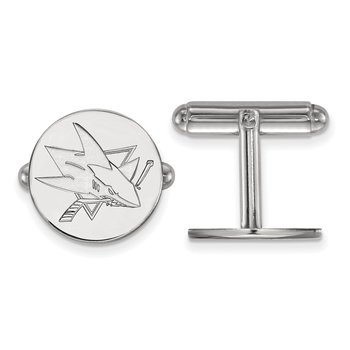 Sterling Silver San Jose Sharks NHL Cuff Links