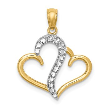 14K and White Rhodium Polished Double Heart Pendant