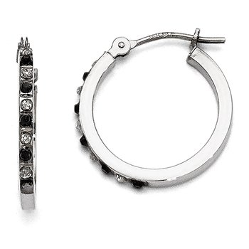 14k White Gold Diamond Fascination Black & White Diamond Hinged Hoop Ear