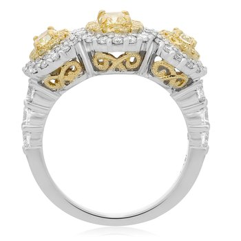 Triple Oval Two Tone Diamond Ring