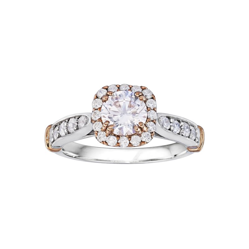 True Romance Round Cut Halo Diamond Engagement Ring