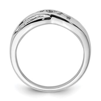 Sterling Silver Rhodium Plated Diamond Mom Ring