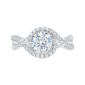 14K White Gold Round Diamond Engagement Ring (Semi-Mount)