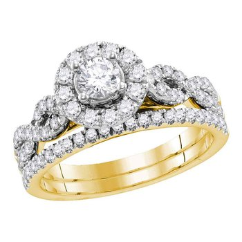 14kt Yellow Gold Womens Round Diamond Twist Bridal Wedding Engagement Ring Band Set 1.00 Cttw