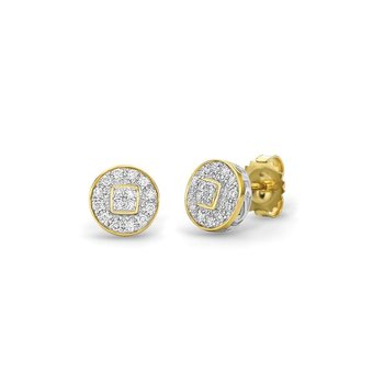 Yellow Gold Round Stud Earrings with Diamonds