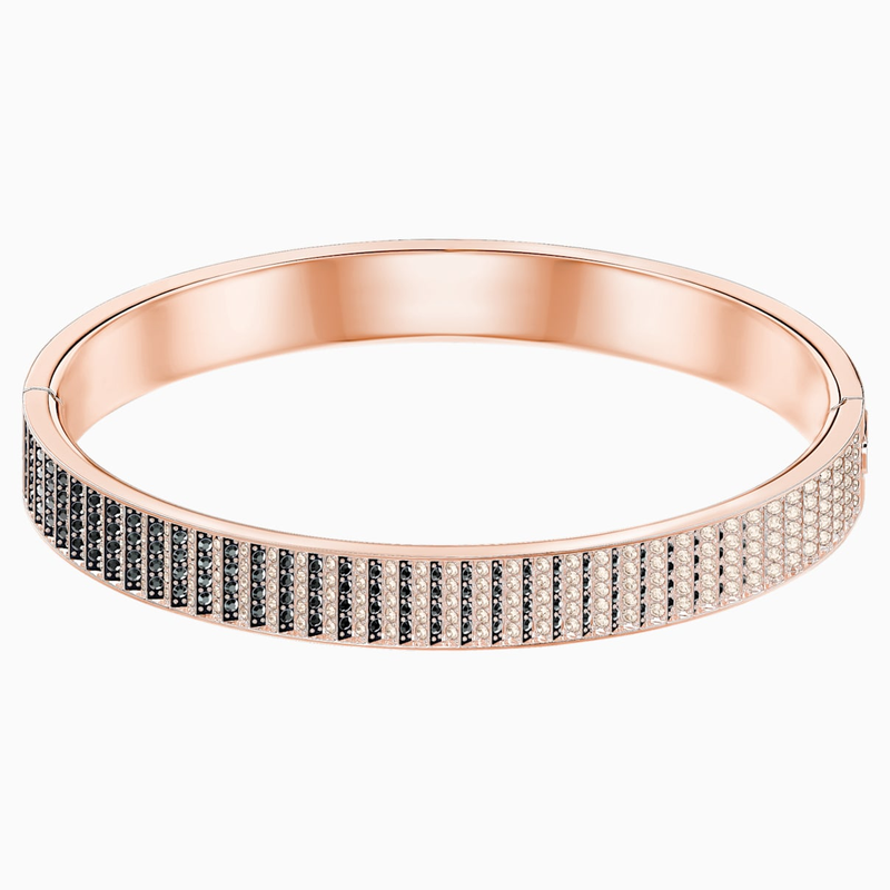 Swarovski Luxury Bangle, Black, Rose-gold tone plated