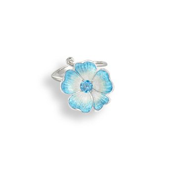 Blue Floral Ring.Sterling Silver-Blue Topaz
