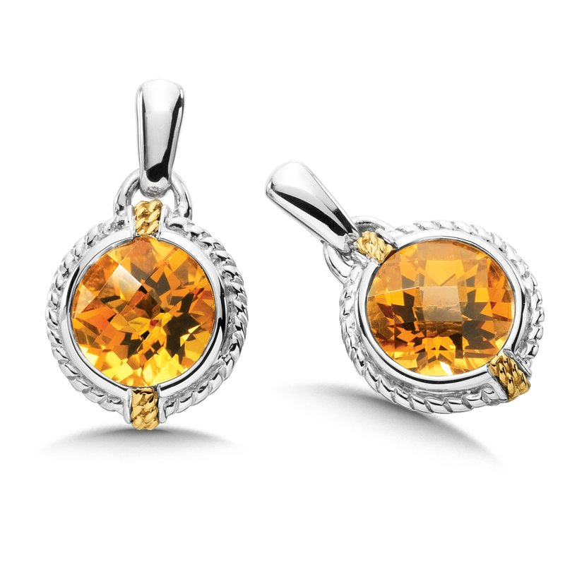 Colore Sg Sterling Silver & 18K Gold Citrine Earrings