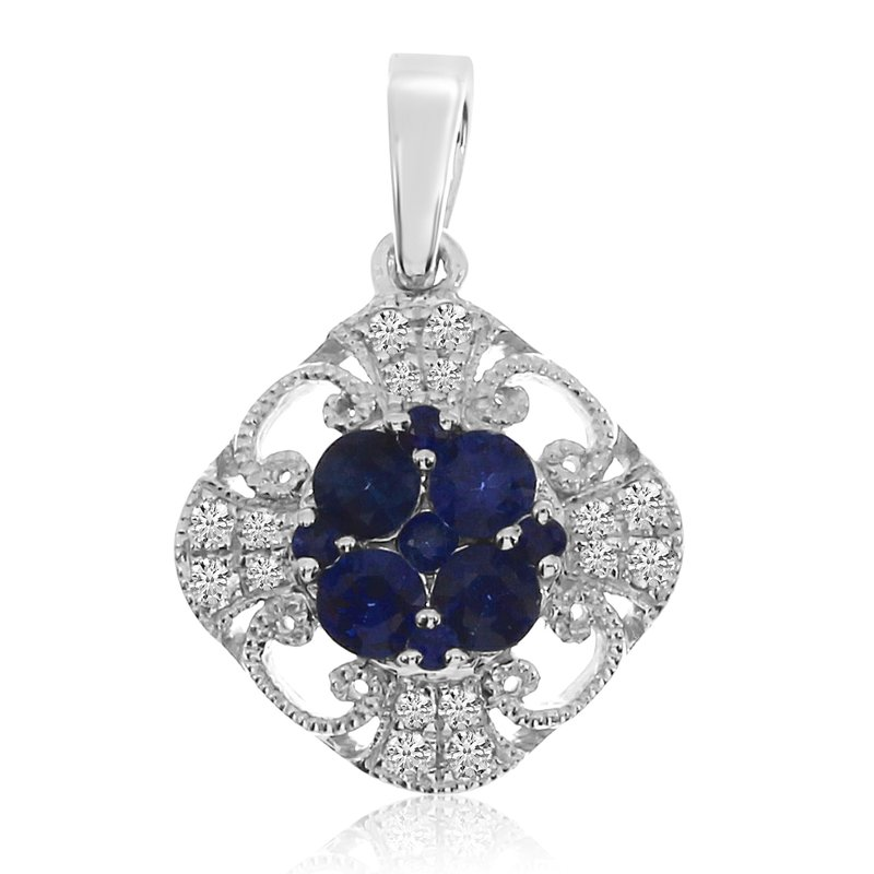 Color Merchants 14k White Gold Sapphire and Diamond Filigree Pendant