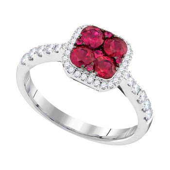 14kt White Gold Womens Round Ruby Square Frame Cluster Diamond Ring 1.00 Cttw