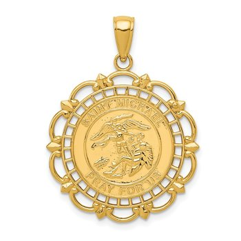 14K Gold Polished / Satin Saint Michael Medal Pendant