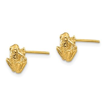 14k Mini Frog Post Earrings